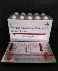 Radiglow-xt/Ferrous Ascorbate,folic Acid And Zinc Tablets