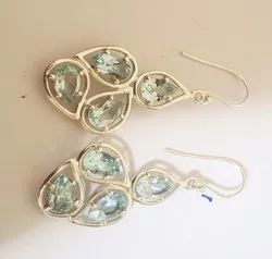 Blue Topaz Stone Earring Studded With 92.5 Silver