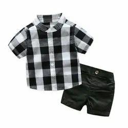 Black & White Boy Kids Shirt Half Pant Set