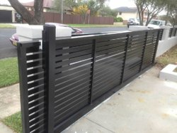 Manual Brown SS Sliding Gate, For Commercial