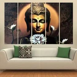 Religious Multicolor Buddha Wall Painting, Size: 5x5 Feet