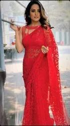 PRESENT HEAVY NET SAREE WITH EMBROIDERY WORK