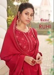 Fiona Ruhi Chinon Embroidered With Work Designer Suit Catalog