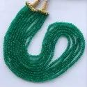 Natural Emerald Green Onyx Stone Faceted Rondelle Beaded Gemstone Necklace