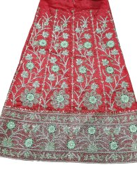 Aqsa Satin Red Wedding Embroidered Lehenga