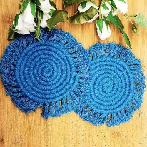 Handmade Blue Macrame Coasters