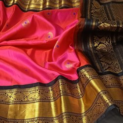 Indian Ethnic Designer Gadwal Pattu Saree, 6.3 m (With Blouse Piece)