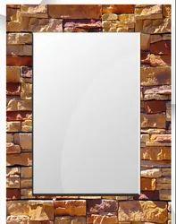 24X18 Inch Wall Mounted Polished Bricks Glass Mirror, For Bathroom