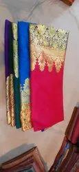 Party Wear Embroidered Ladies Zari Work Pure Banarasi Silk Saree, 6.3 m (with blouse piece)