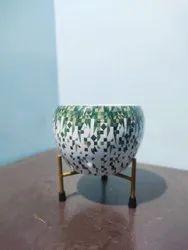 White Iron Meena Metal Pot, For Decoration, Size: 15 Cm