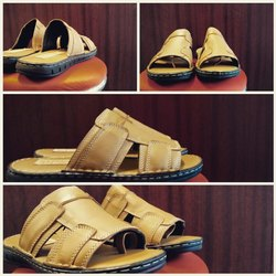 Daily Wear Yellow Mens Leather Slipper
