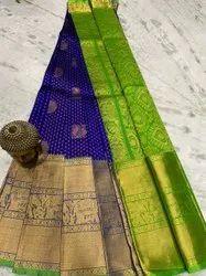 Wedding Wear Printed Mangalagiri Pattu Silk Saree, 5.5 m (separate blouse piece)