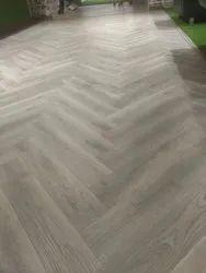 Grey Rectangular 12 mm Herringbone Wooden Flooring