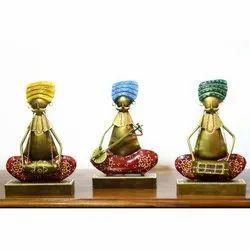 Iron Set Of 3 Much Musicians Handicraft, For Decoration