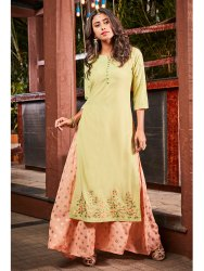 Janasya Women's Light Green Poly Muslin Ethnic Dress(J0101)