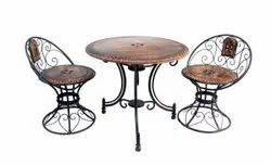 Polished Brown + Black Iron Table Chair Set, For Outdoor