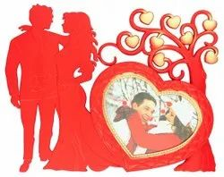 Plastic Red Couple Love Photo Frame, For Decoration