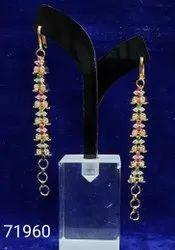 Golden Party Wear Cz Designer Mati Earrings