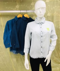Full Sleeves Women Plain Denim Shirt, Casual