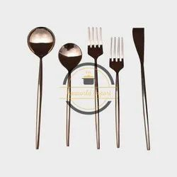 Gold Plated Steel Cutlery Set, For Home, Round