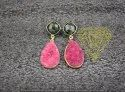 Iolite Quartz with Red Druzy Gold Plated Earring