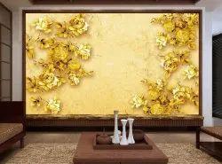 3d Golden Floral Wallpaper