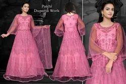Embroidered Ethnic Wear Women Net Designer Dresses