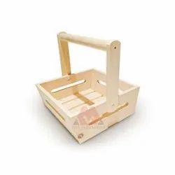 wood color Wooden Basket, For Kitchen, Size: 8x11x3