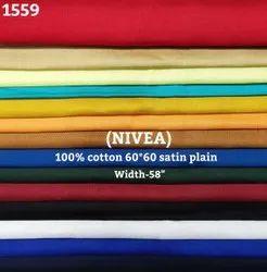 Nivea 100% Cotton Satin Plain Shirting Fabric