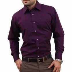 Full Sleeves Cotton Men Purple Plain Shirt, Handwash