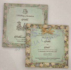 Laser Cutting Multi Flower Insert With Ribbon Hanging Screen Printed Wedding Card Invitation Card