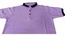 Half Sleeve Men Purple Cotton Collar T Shirt