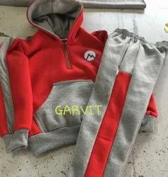 Red and Grey Full Sleeves Kids Fleece School Tracksuits, Size: 22 - 40