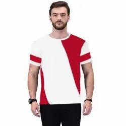 Half Sleeve White Mens Round Neck Cotton T-Shirt