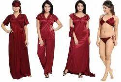 Satin Plain 6 Pieces Maroon Ladies Nightwear Set