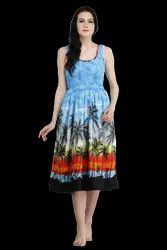 Printed Stitch Party Wear Smoke Smoke Dress