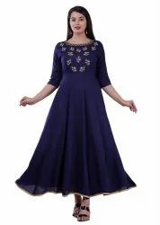 Party Wear Navy Blue Ladies Embroidered Rayon Gown