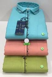 Plain Multicolor Mens Cotton Party Wear Shirts, Size: 38 To 44 Available