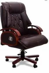 Fabric Leatherette Revolving Boss Chair, Brown
