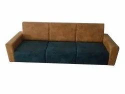 Brown and Blue Modern Three Seater Sofa, 5 Inch, Size: 6 Feet