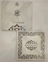 Multi Color Minakari Marble Design Soft Feel Uv Foil Printed Wedding Card Invitation Card