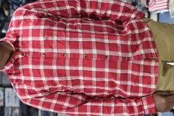 Collar Neck Men Red Check Shirt, Machine Wash,Hand Wash