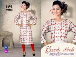 Party Wear Straight 3XL 4XL 3/4th Sleeve Cotton Embroidery Kurti, Wash Care: Machine wash