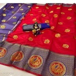 Kanchipuram Silk Saree, Length: 6 m (with blouse piece)