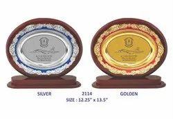Wooden Golden Silver Plate Memento