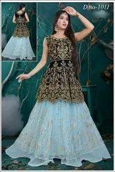 Velvet and Soft Net Wedding Wear Indo Western Designer Lehenga Choli, 2.5 M