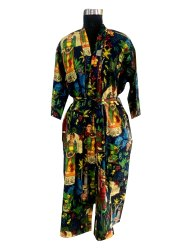 Farida Print Long Kimono Robe