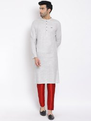 grey Casual mens cotton kurta, Mandarin Collar