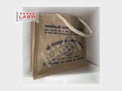 Printed Rope Handle Promotional Jute Shopping Bag