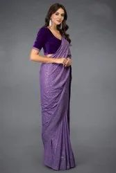 Present Chiffon Saree With Sequence Work